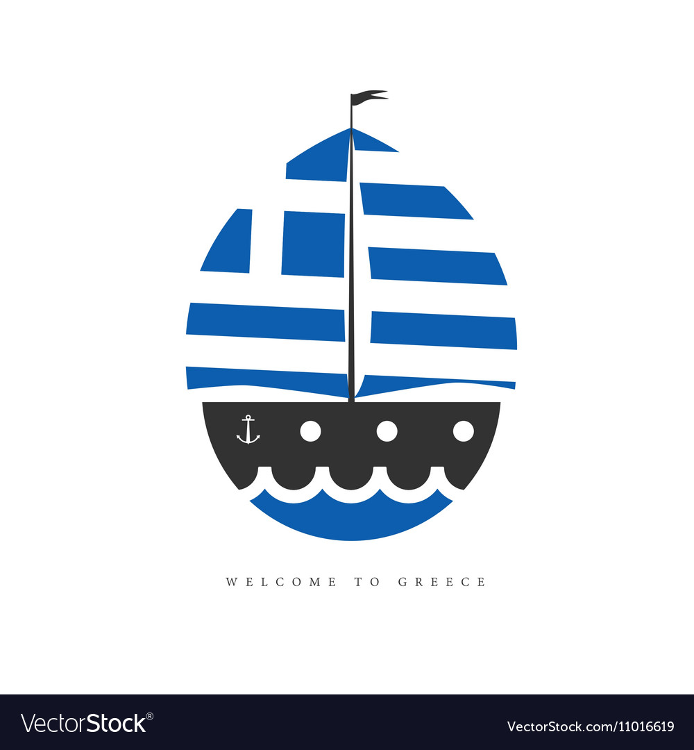 Boat with greek flag on white background