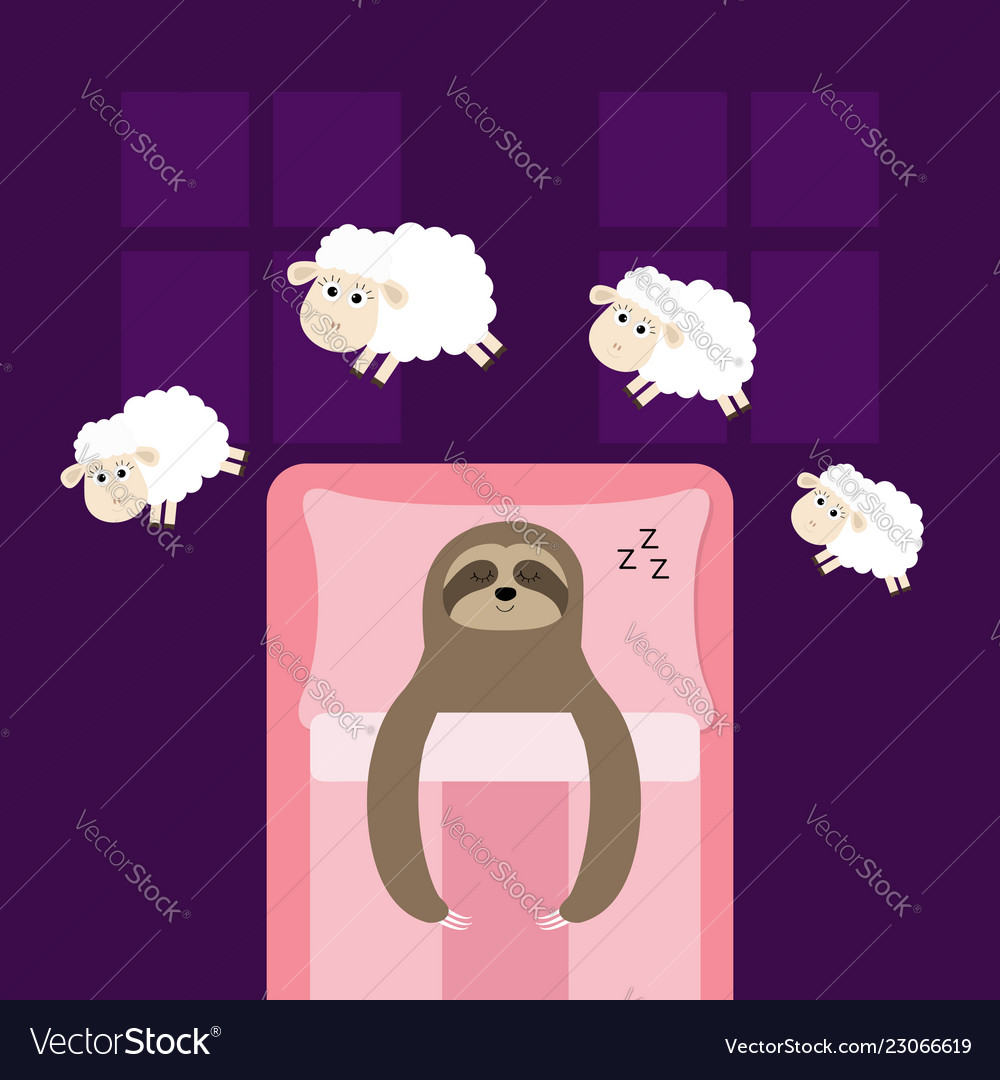Cute sloth sleeping sign zzz jumping sheeps cant