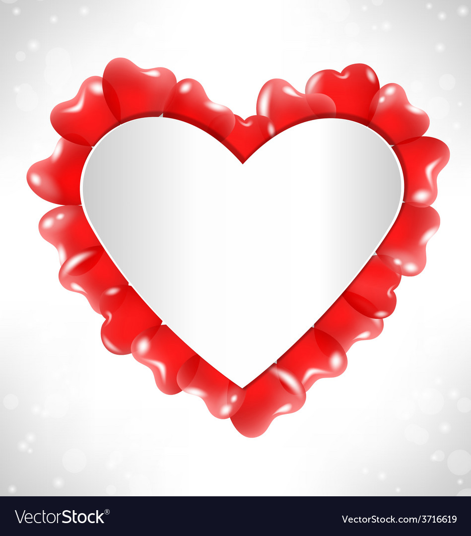 Frame in the shape of a heart for text with red