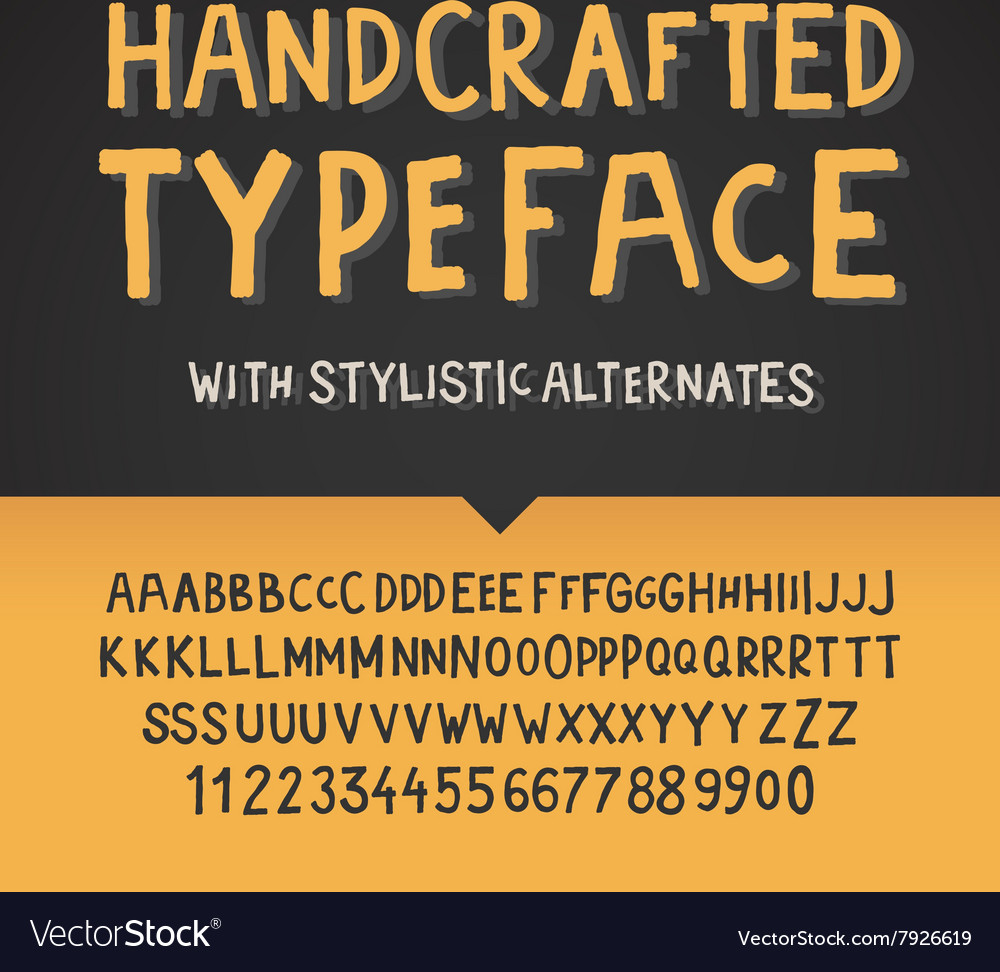 Handcrafted typeface letters and numbers