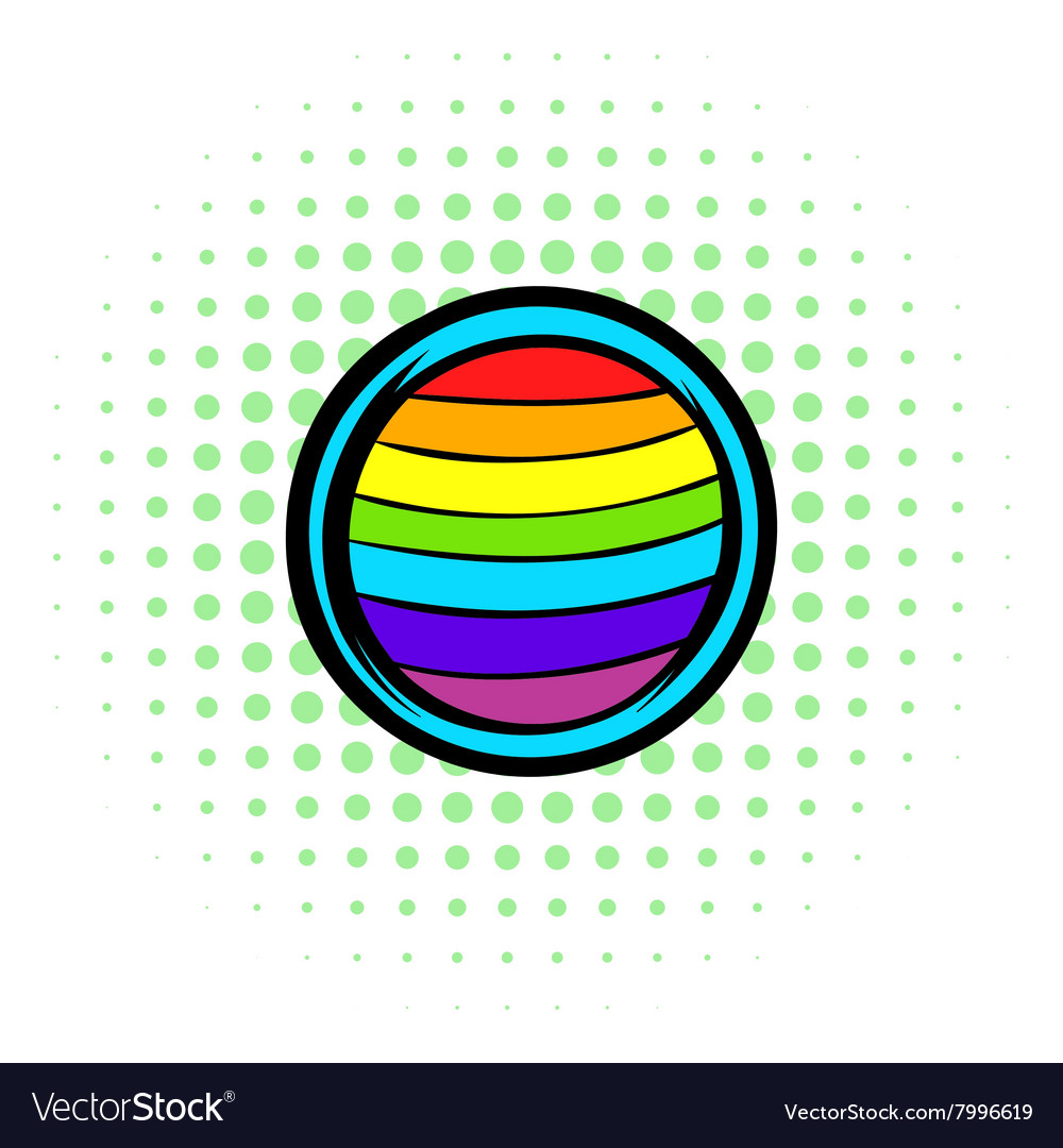 LGBT colors on button shape icon comics style