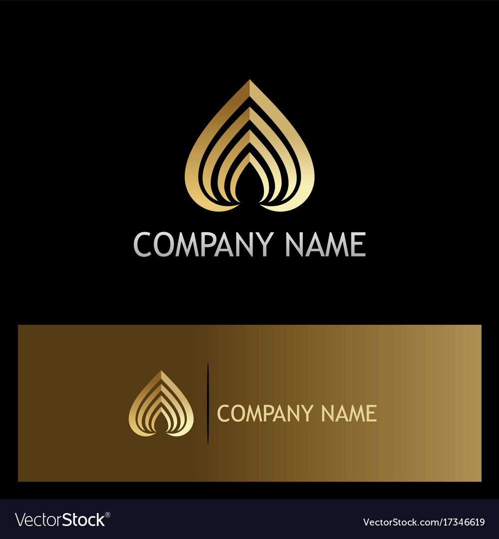 Love stripe luxury gold logo