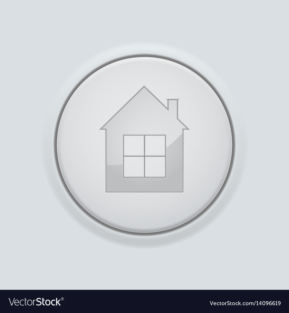 Round home button on gray interface background