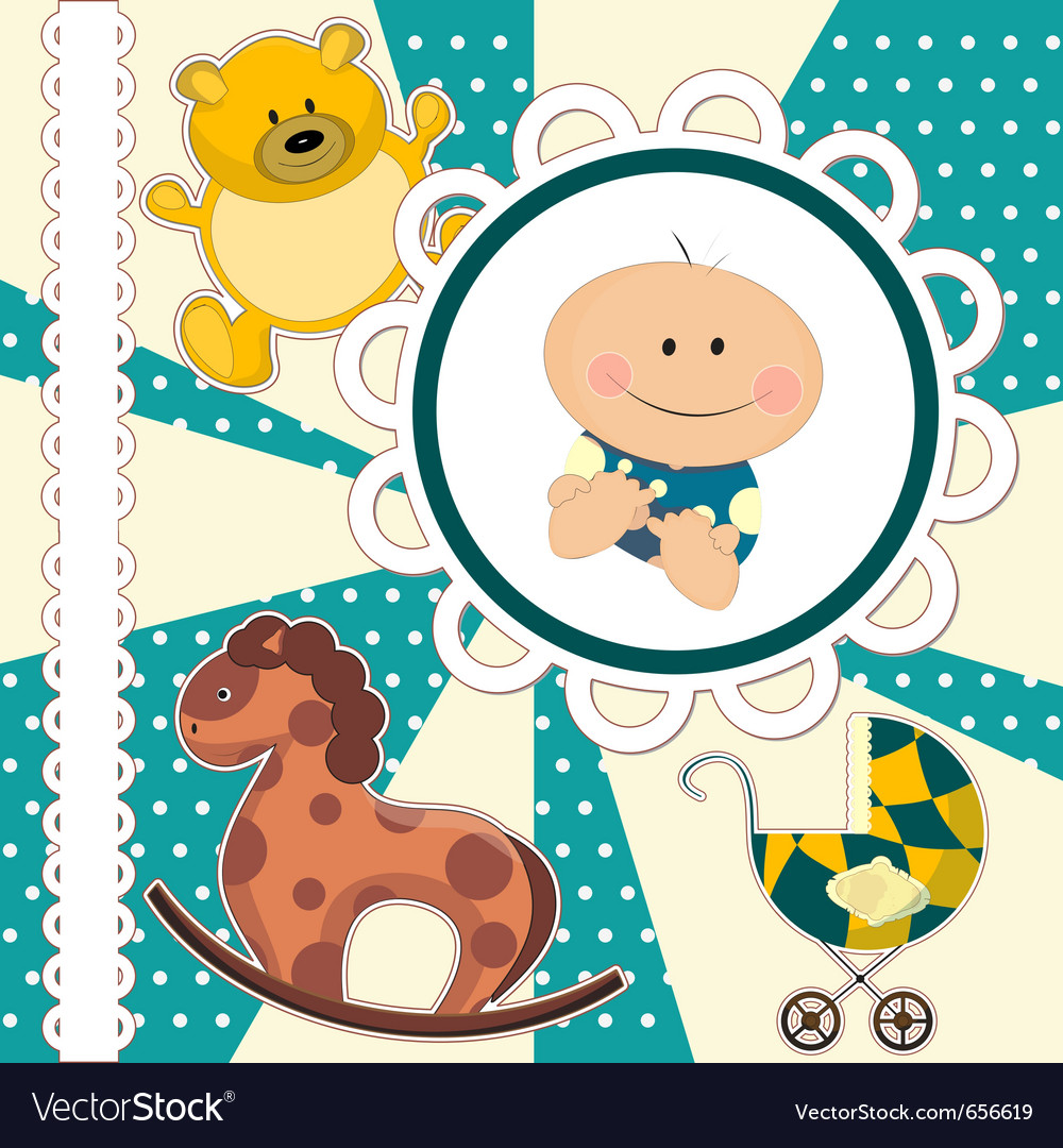 Scrapbooking card for baby boy
