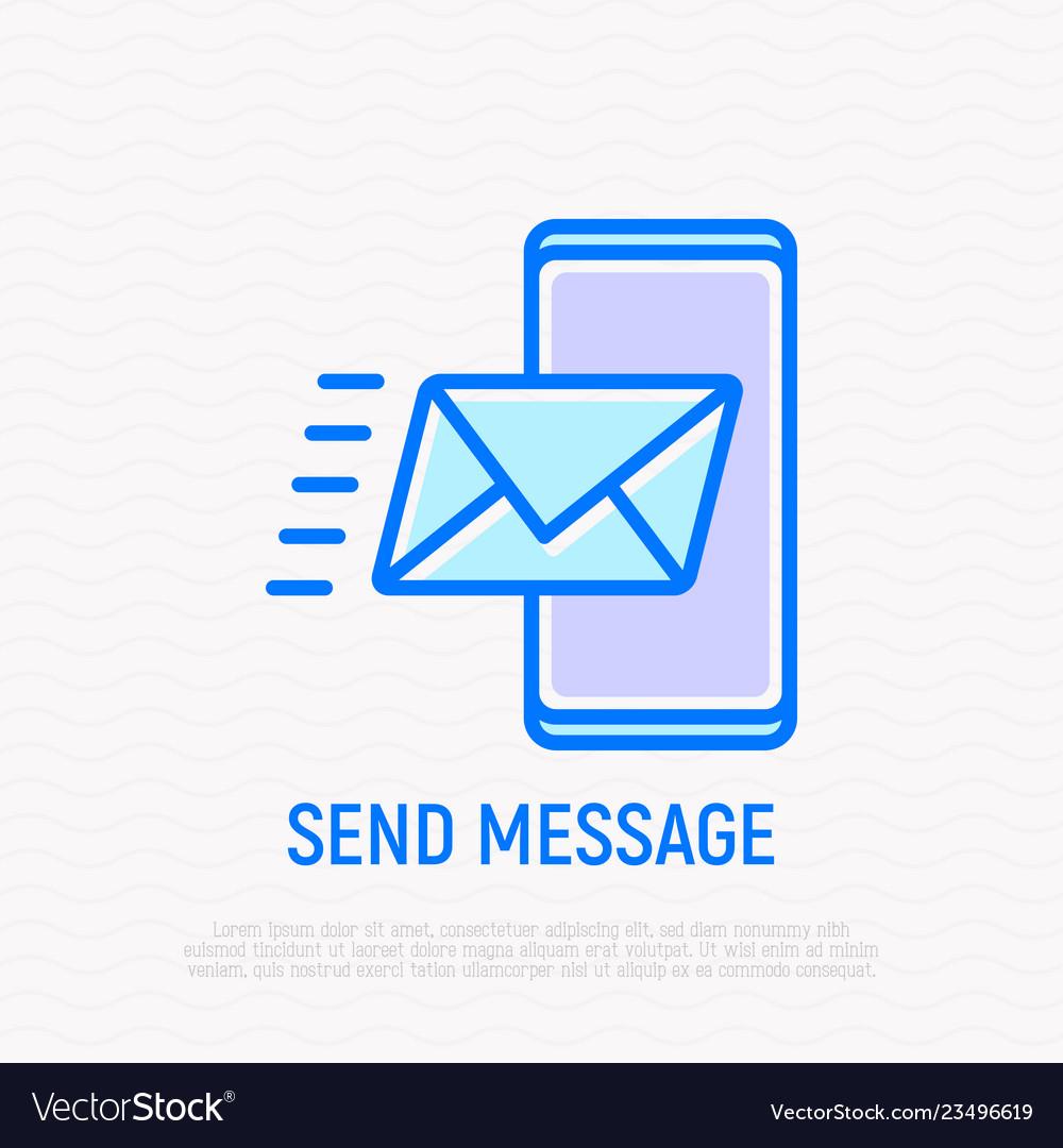 Send message envelope flying on smartphone