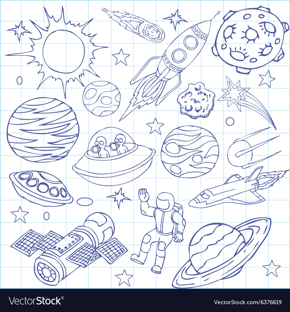Sheet Of Exercise Book With Outer Space Doodles Vector Image