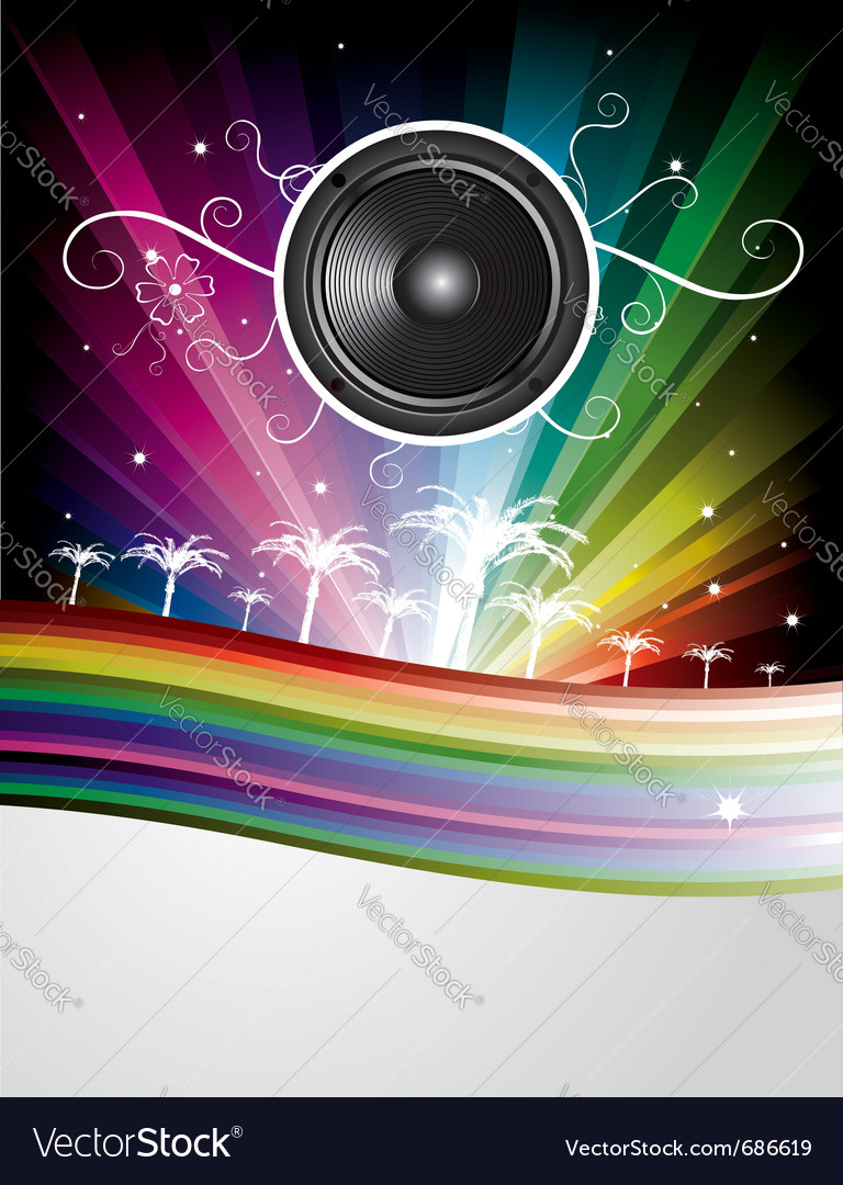Speaker rainbow background vector image