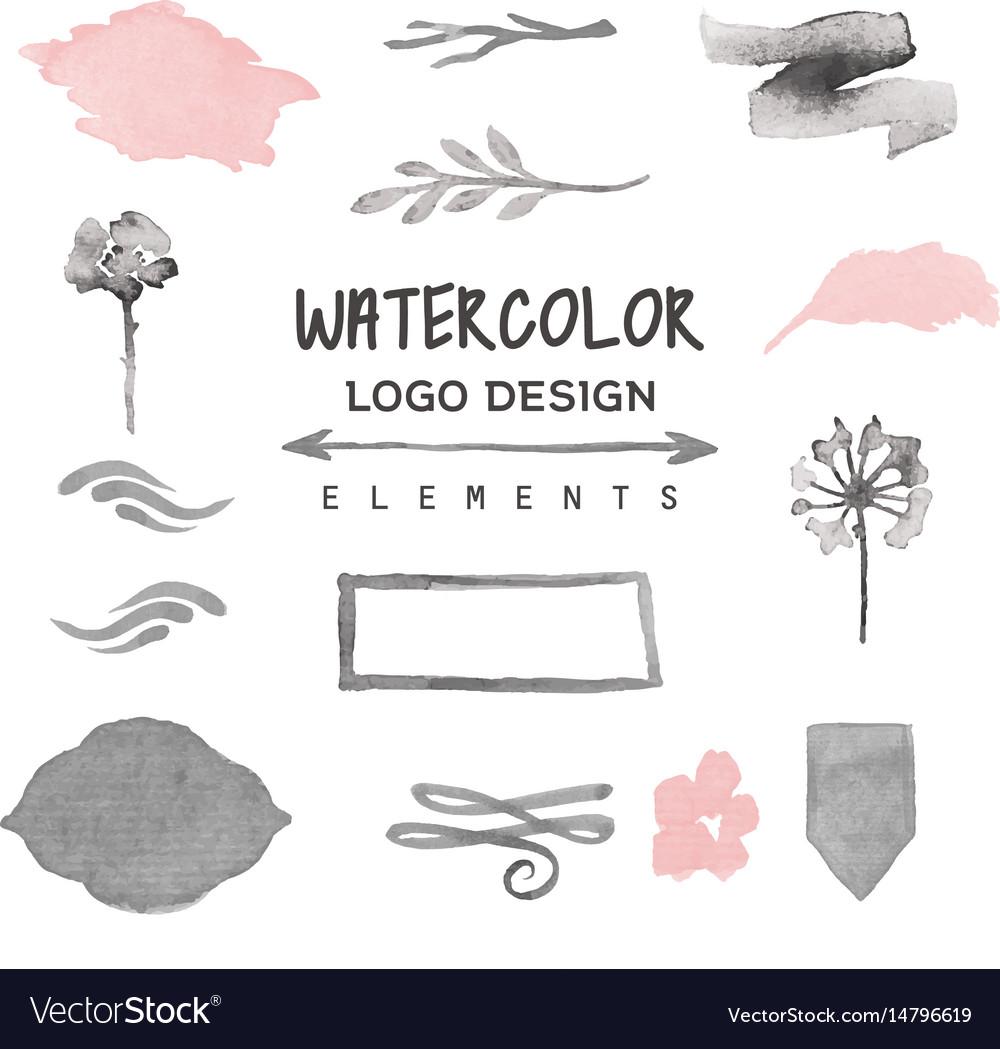 Vintage Watercolor Logo Design Elements