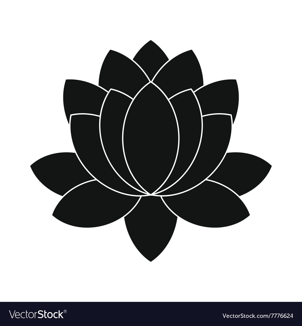 Blue Lotus Flower Icon Simple Style Royalty Free Vector