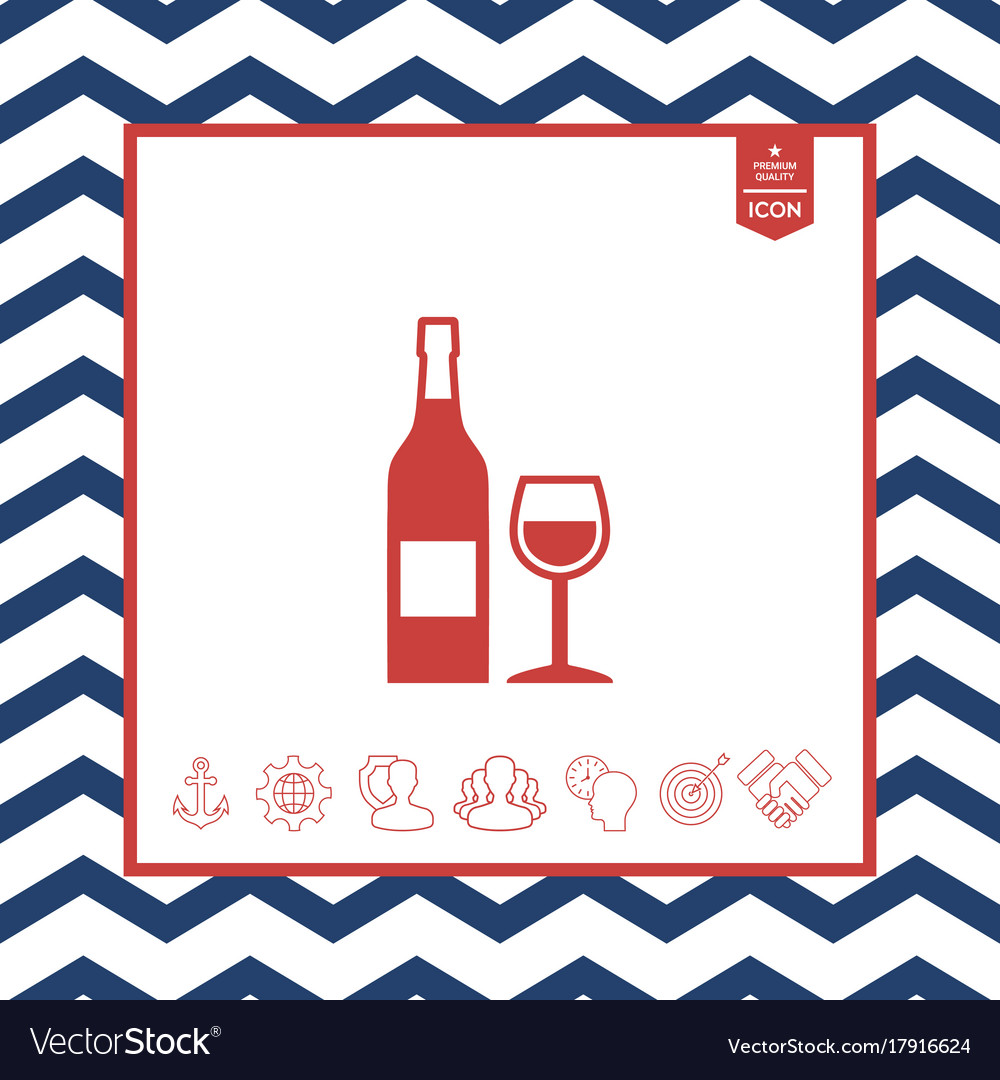Bottle of wine and wineglass icon