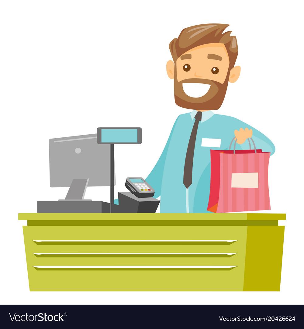 Cashier Cartoons: Caucasian White Cashier Handing Over Shopping Bag Vector Image
