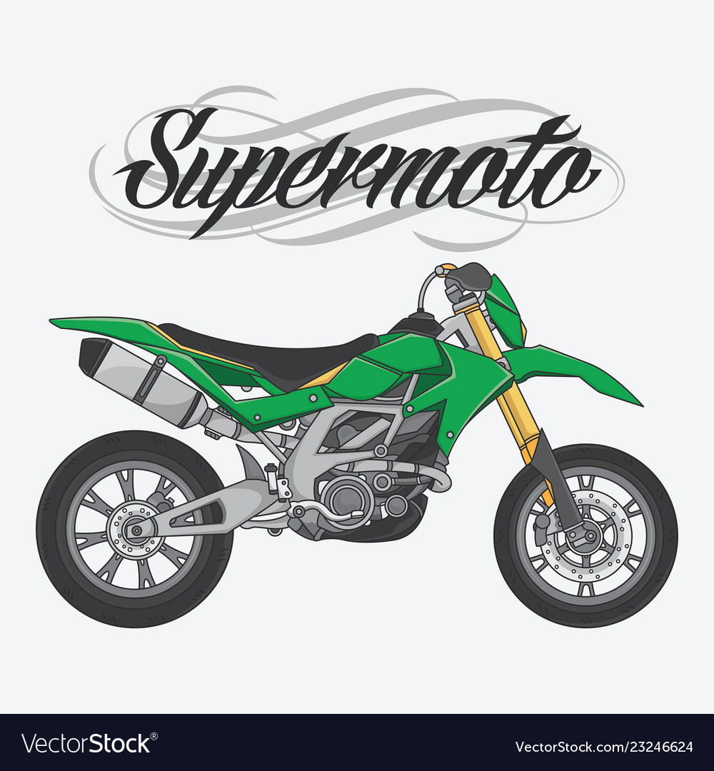 Design logo supermoto rider ride a supermoto bike