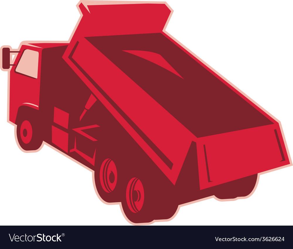 Dump Dumper Truck Dumping Load Rear Vector Image