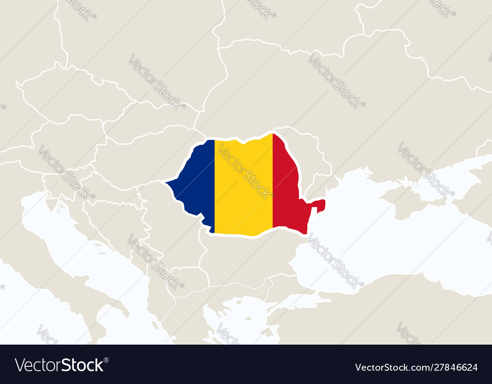 Europe with highlighted romania map