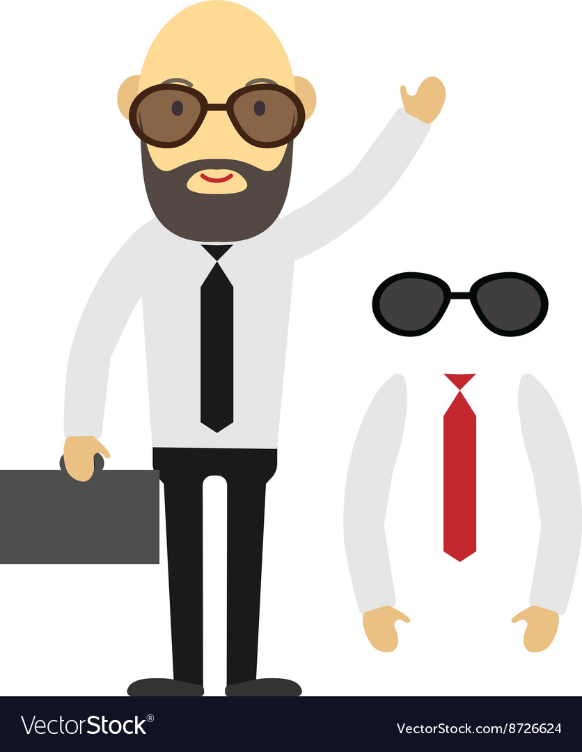 Flat designed businessman with beard and glasses vector image