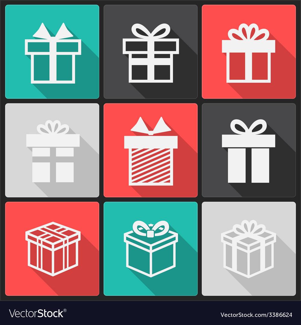 Gift box white icons