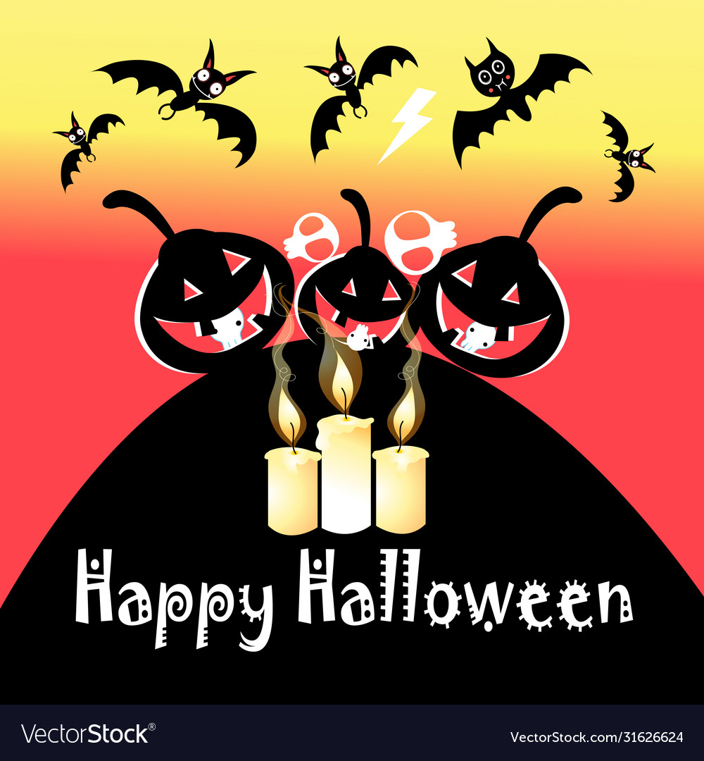 Halloween festive greeting card with pumpkins and