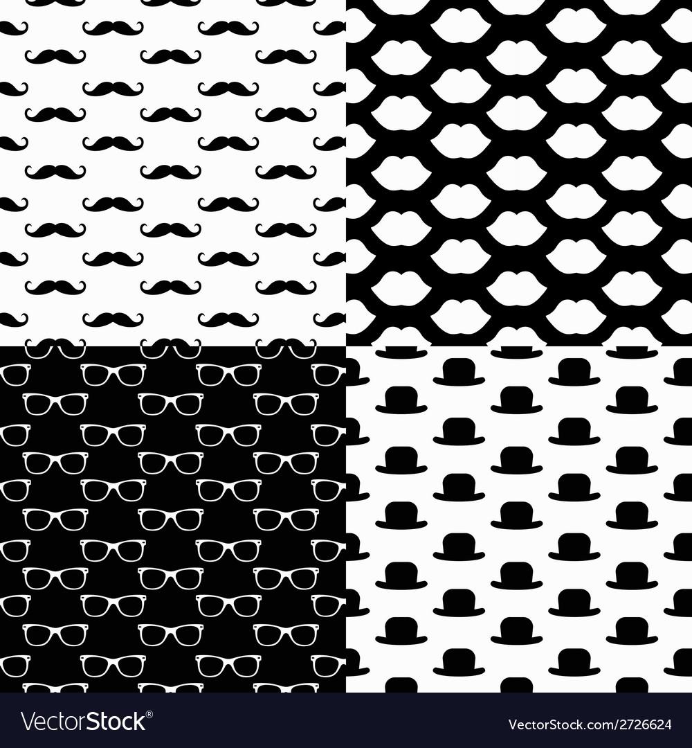 Hipster Seamless Pattern Set