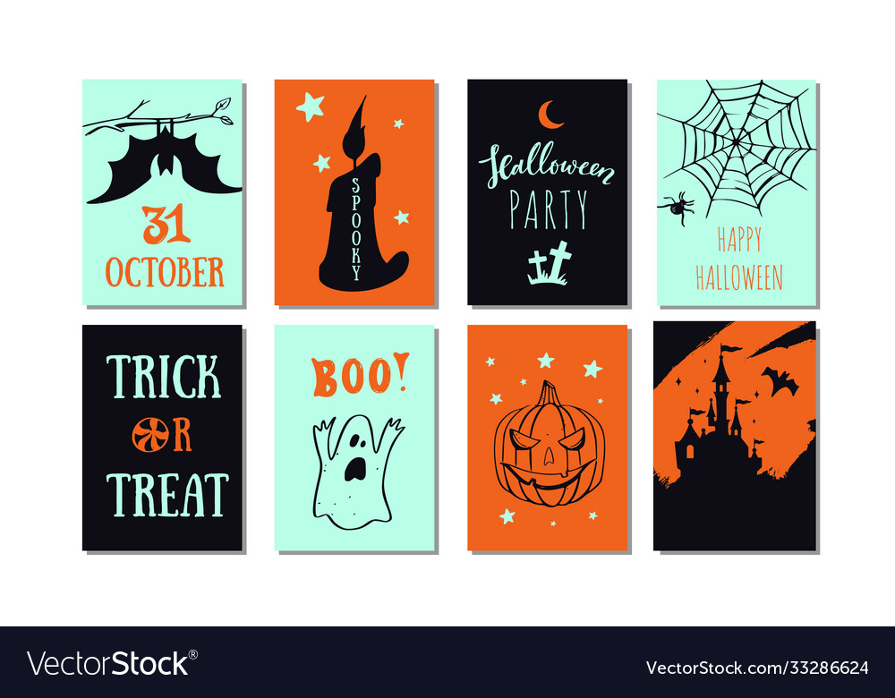 Set halloween party banners invitations