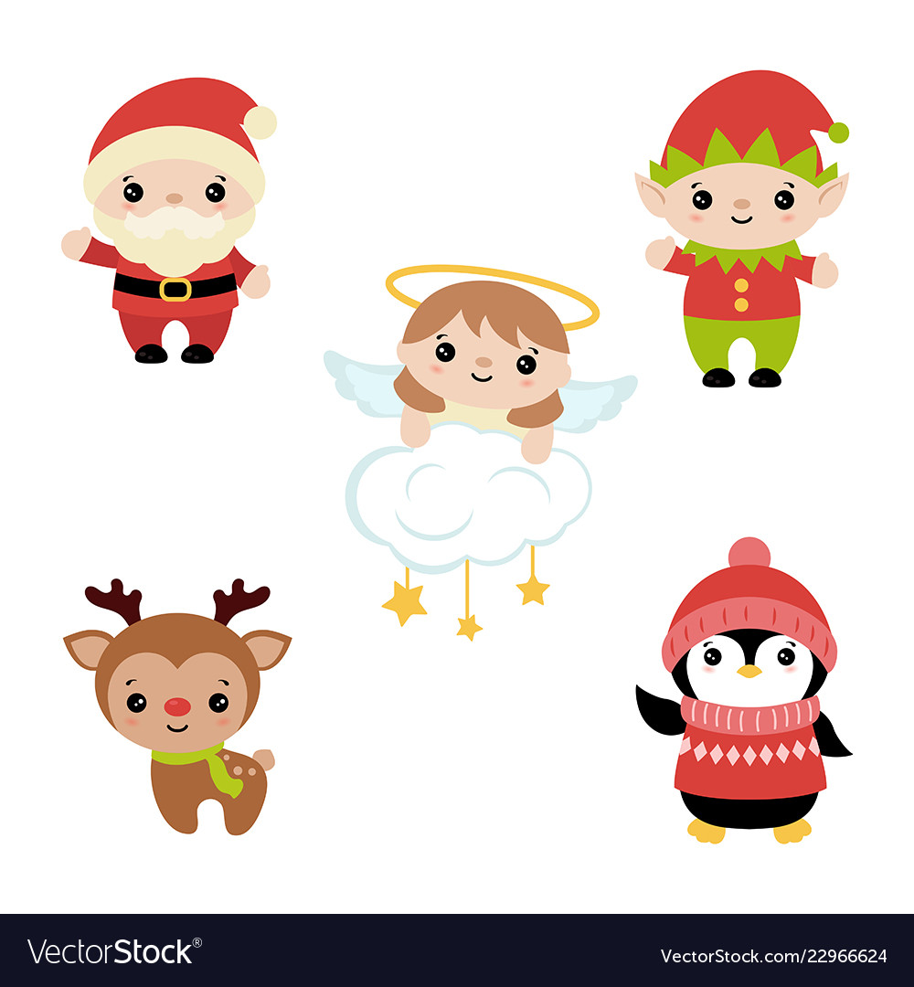 characters set of christmas Vector Image