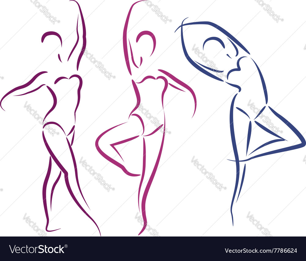 Sketched dancing girls isolated on white