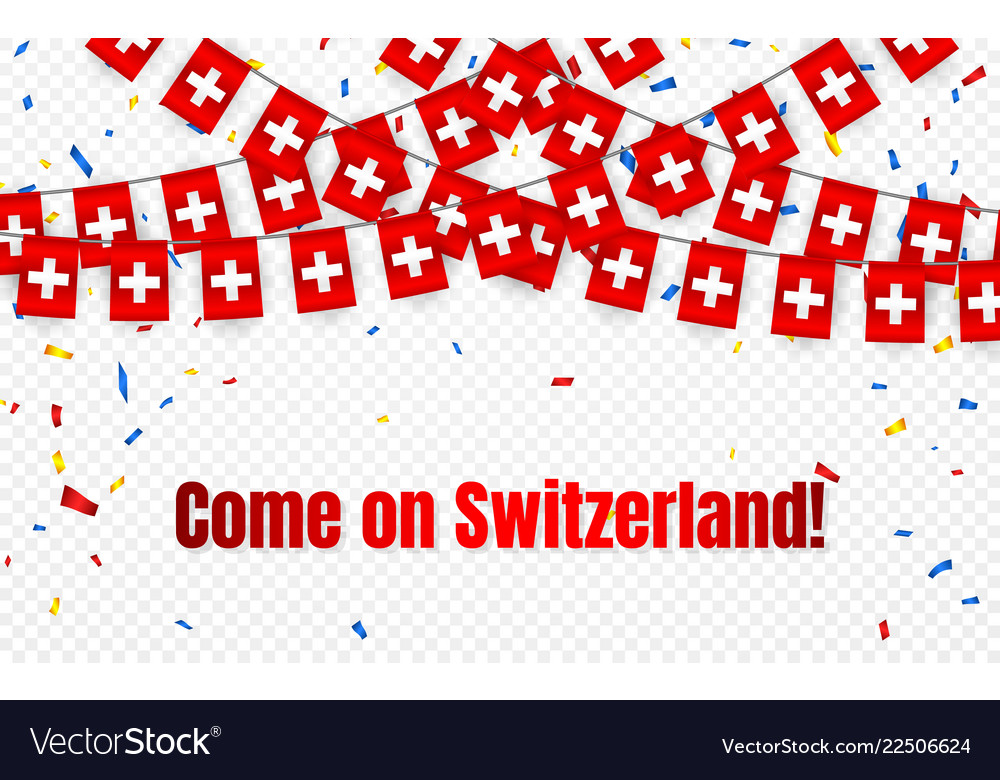 Switzerland garland flag with confetti on