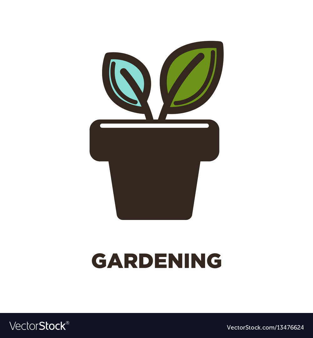 Two leaves growing from pot logo design gardening