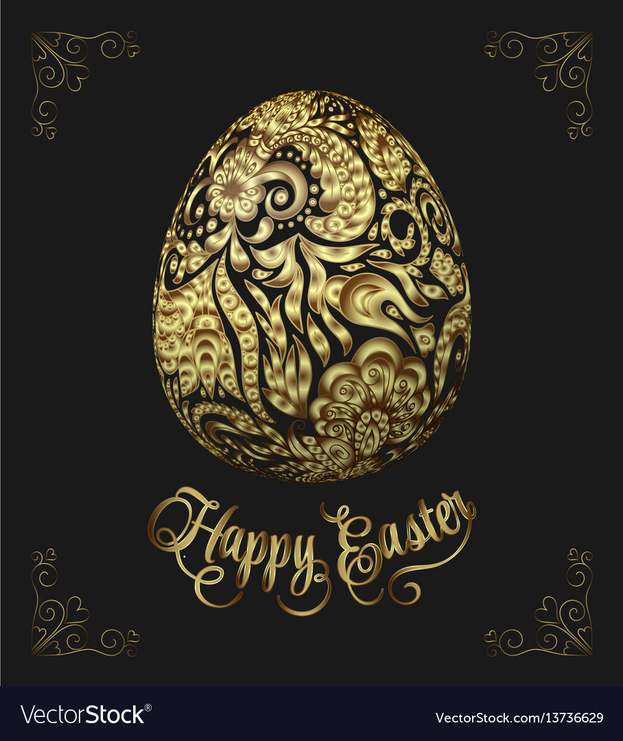 Abstract golden easter egg on black background vector image