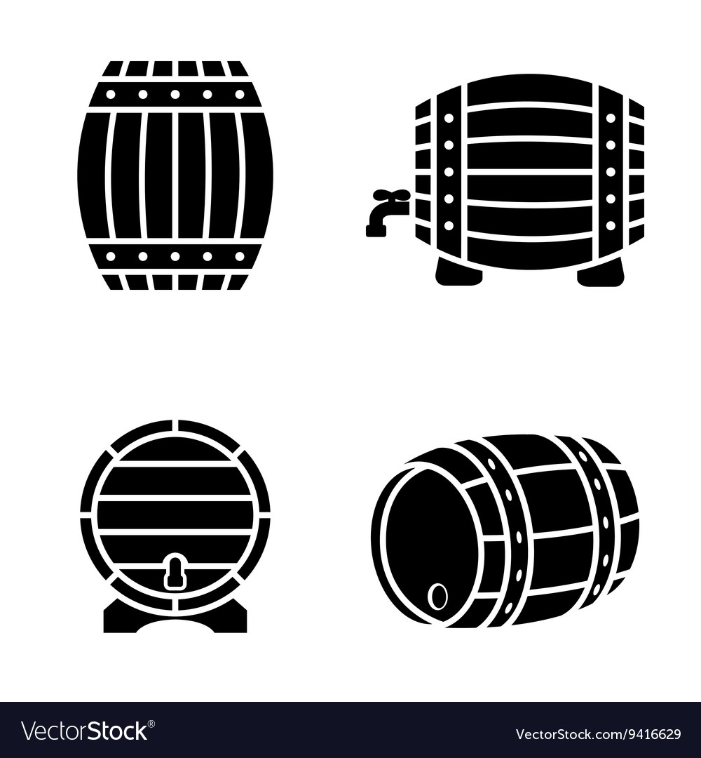 Black barrels icons set on white background