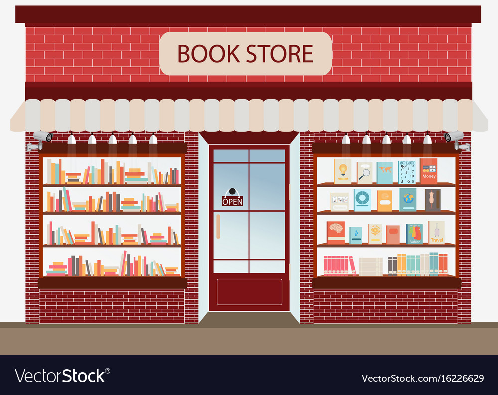 Bookstore with bookshelves