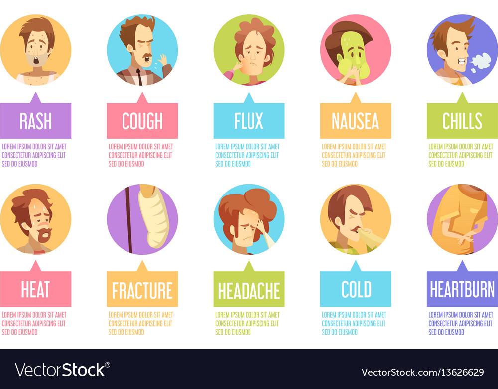 Cartoon sickness man icon set vector image