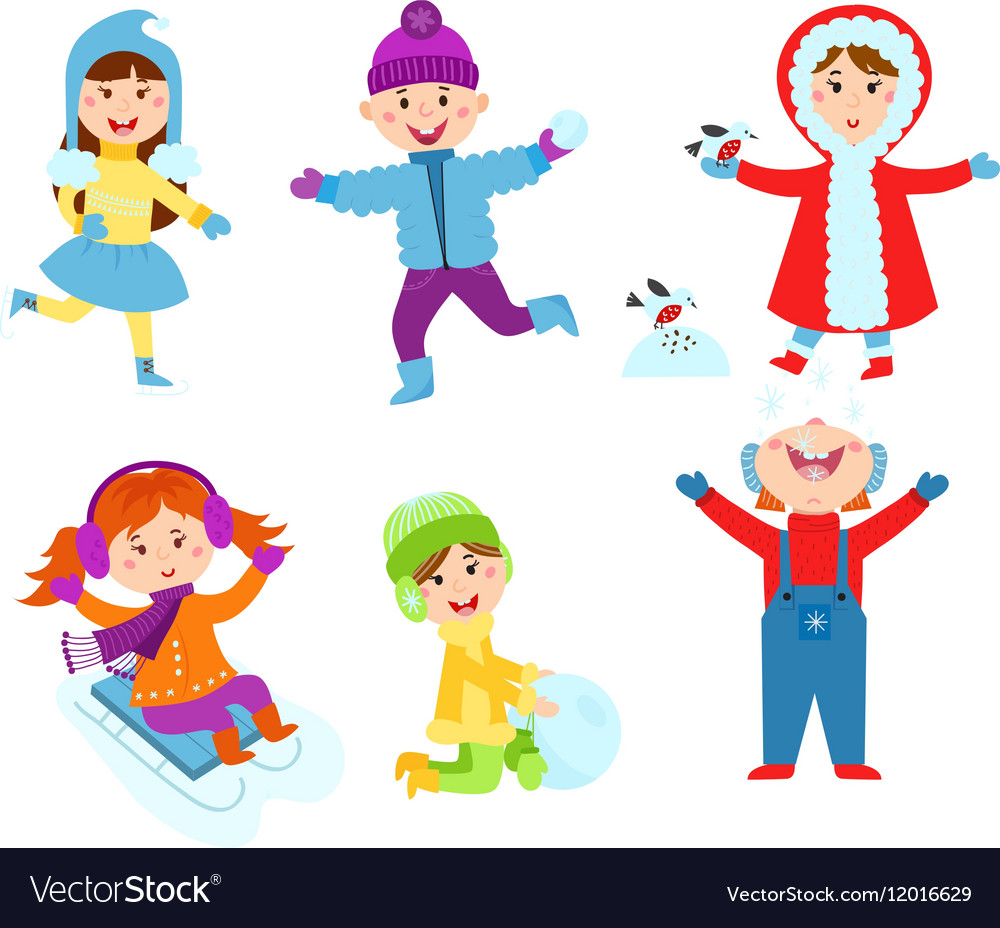 Christmas kids playing winter games Royalty Free Vector