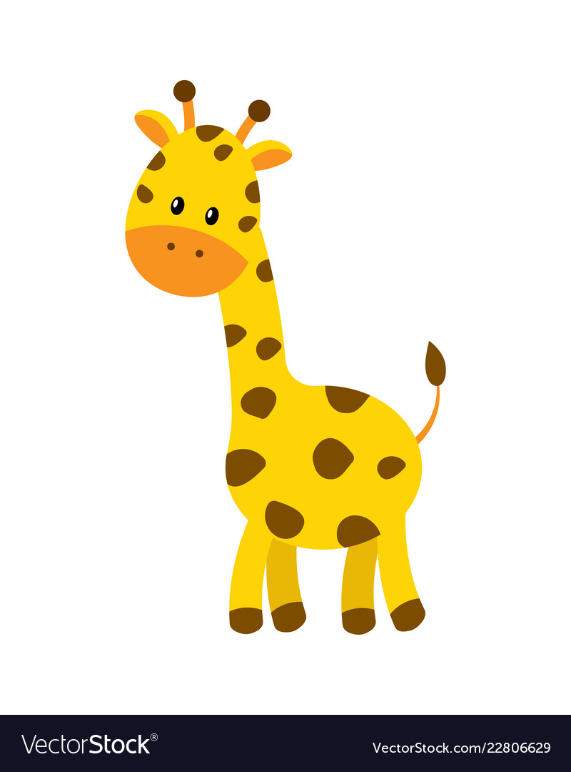Cute cartoon giraffe isolated
