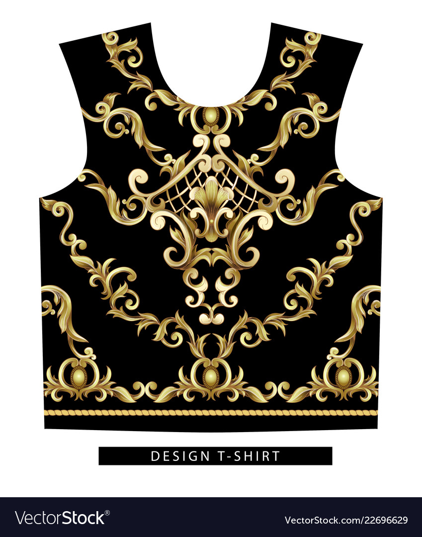 Design scarf with golden baroque elements