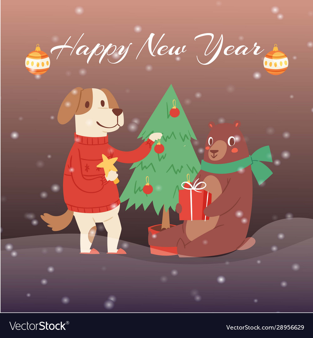 Happy new year cartoon fir tree bear and dog in
