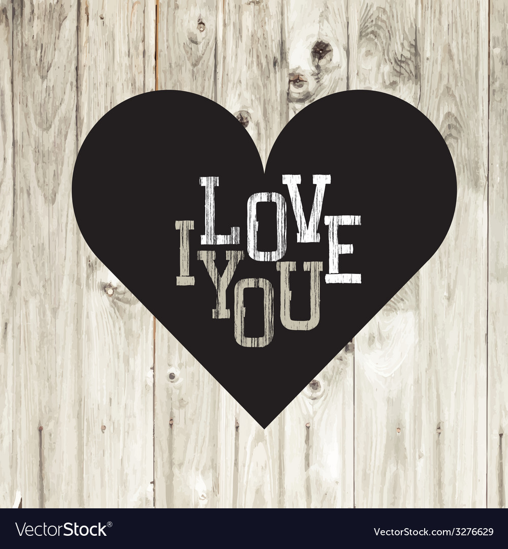 Heart on wooden texture card vector image