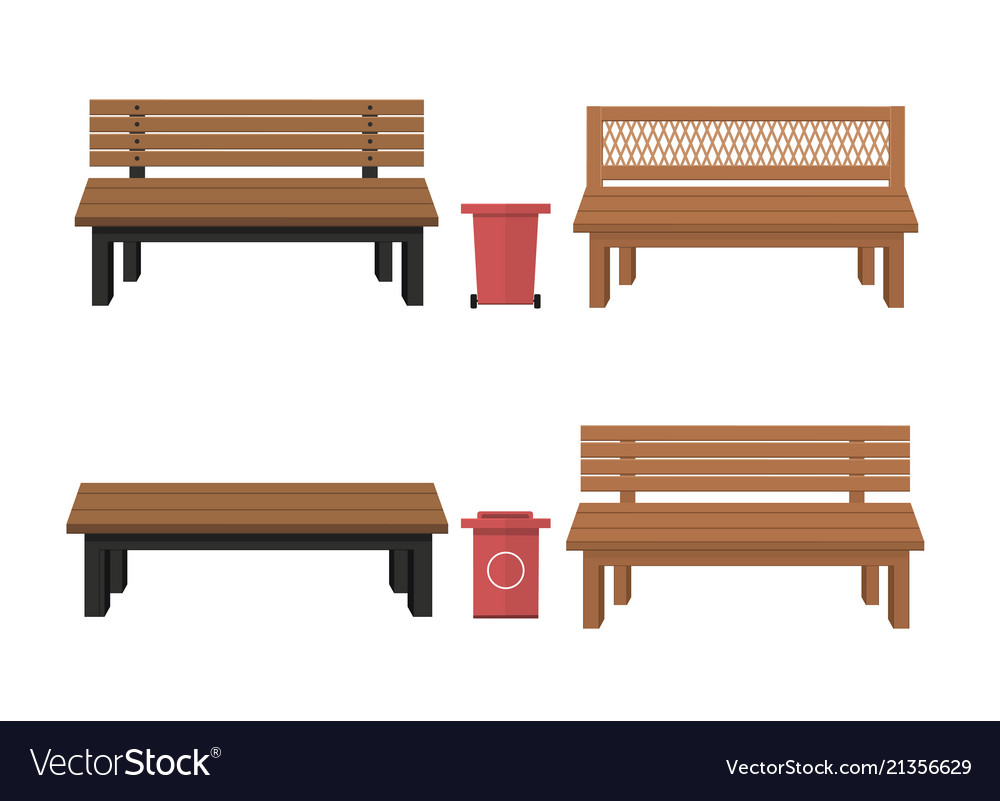 Outdoor wooden benches with garbage canouter
