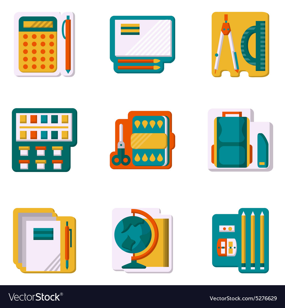 School supplies flat color icons