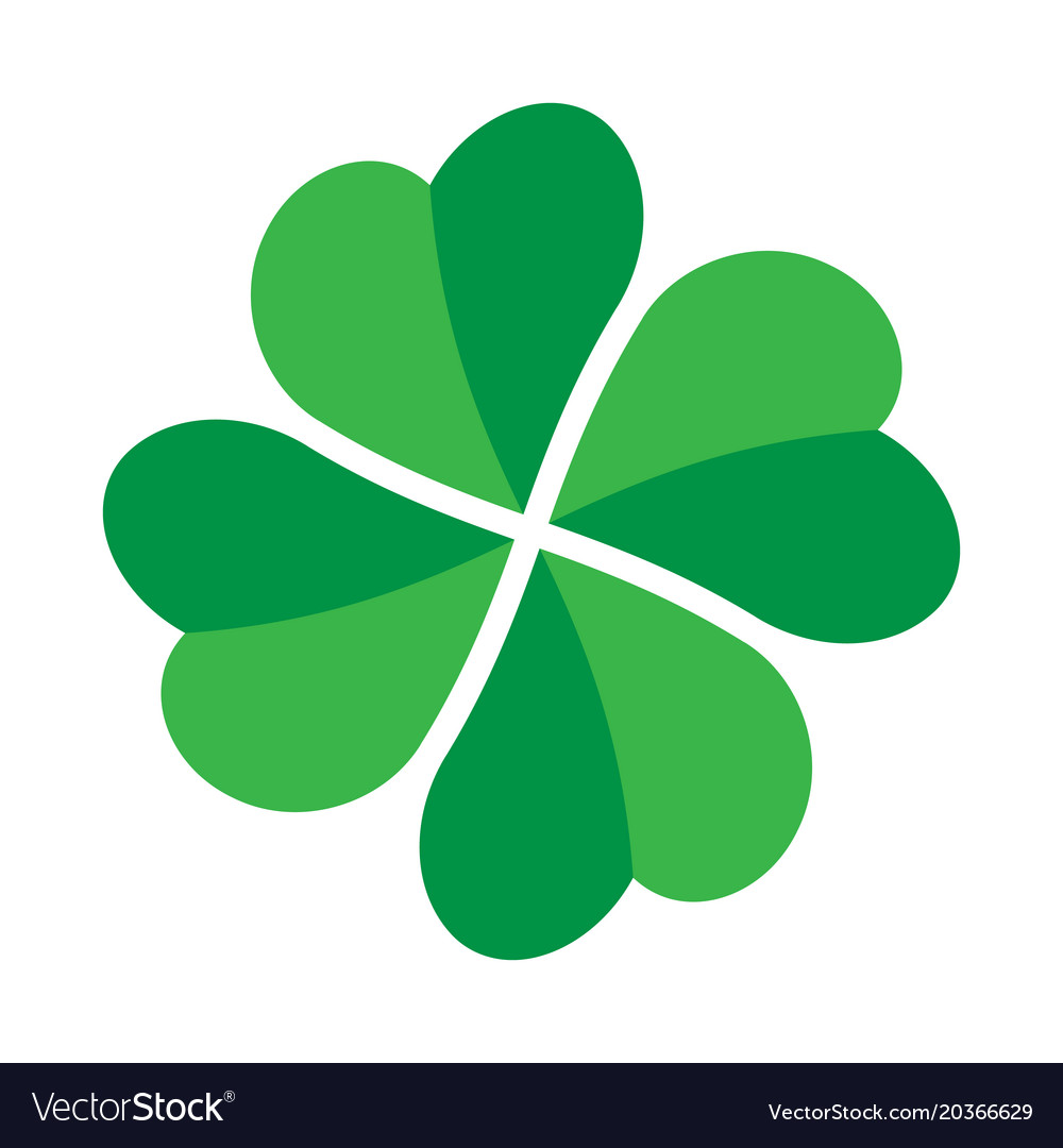 Shamrock Green Four Leaf Clover Icon Good Luck Vector Image