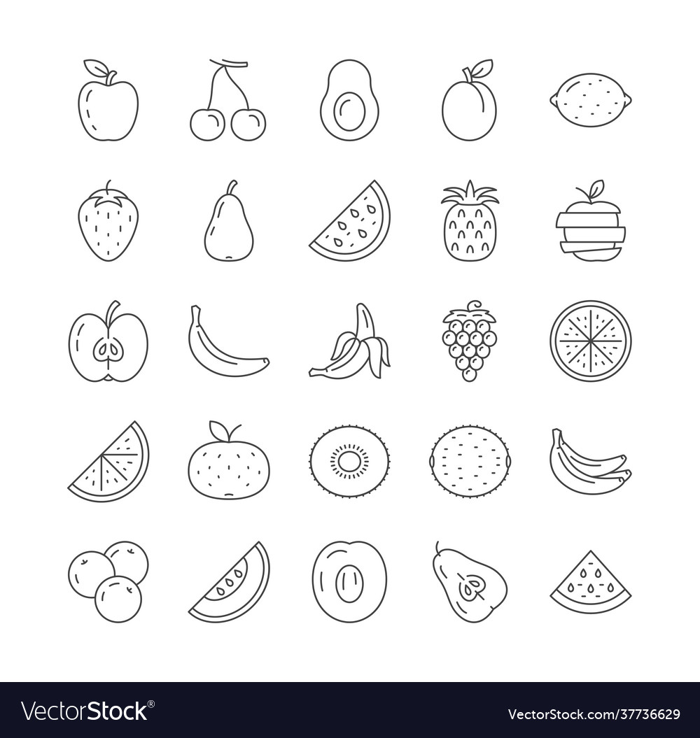 Simple set fruits line icons