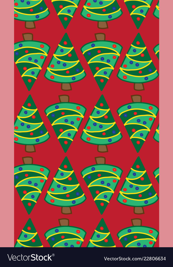 Christmas trees on red seamless pattern