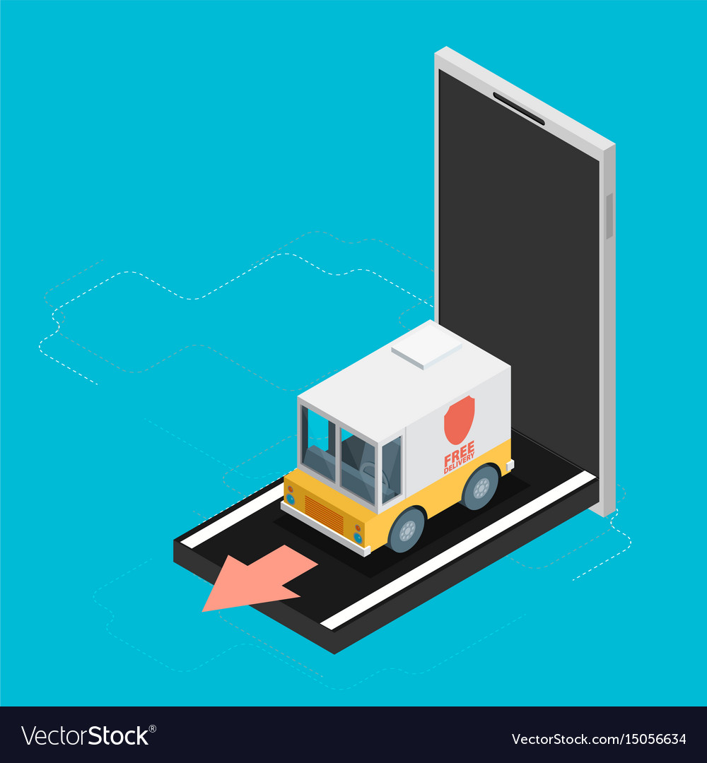 Concept of delivery truck icon with mobile flat