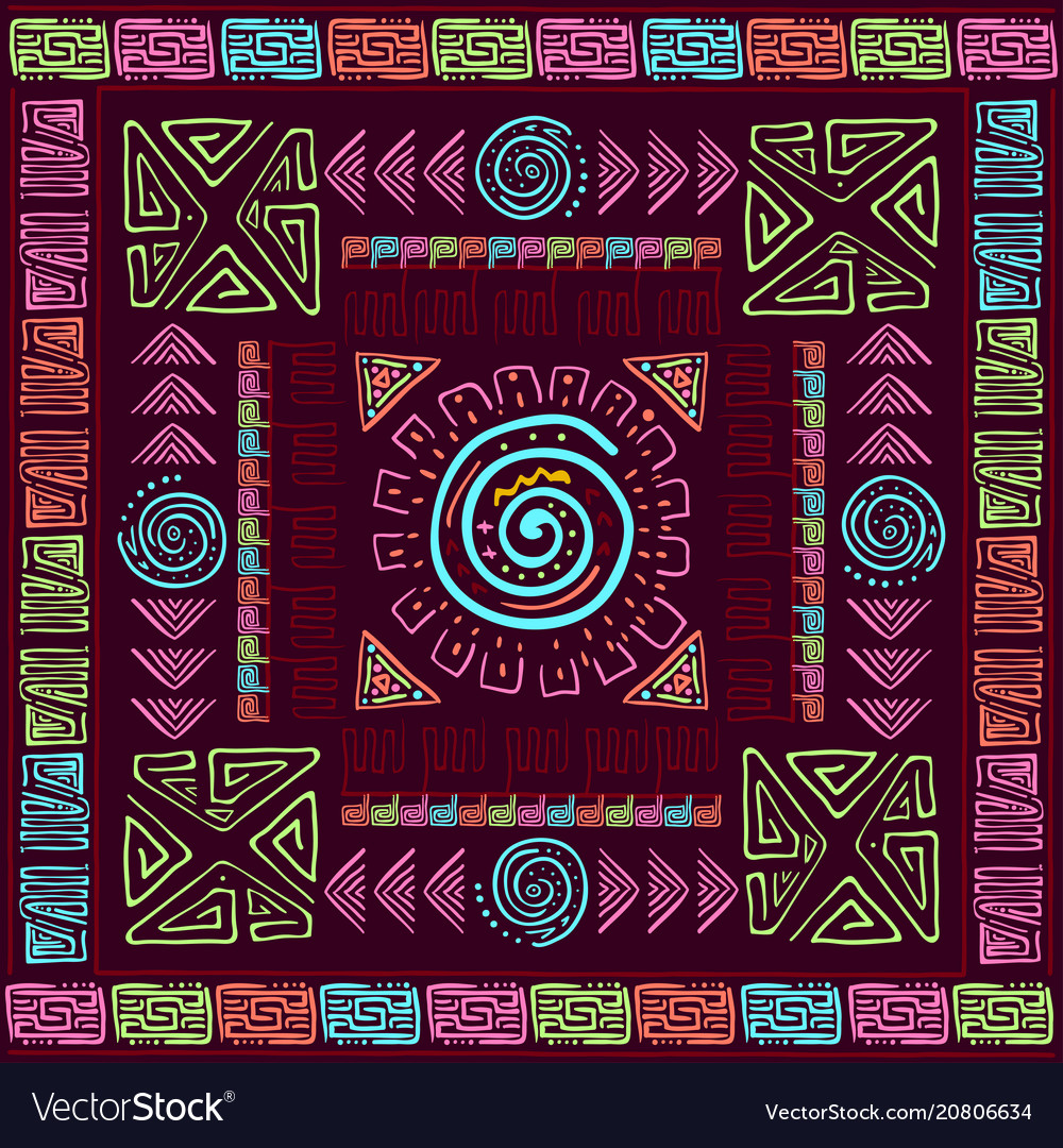 Ethnic colorfull background with handmade brush