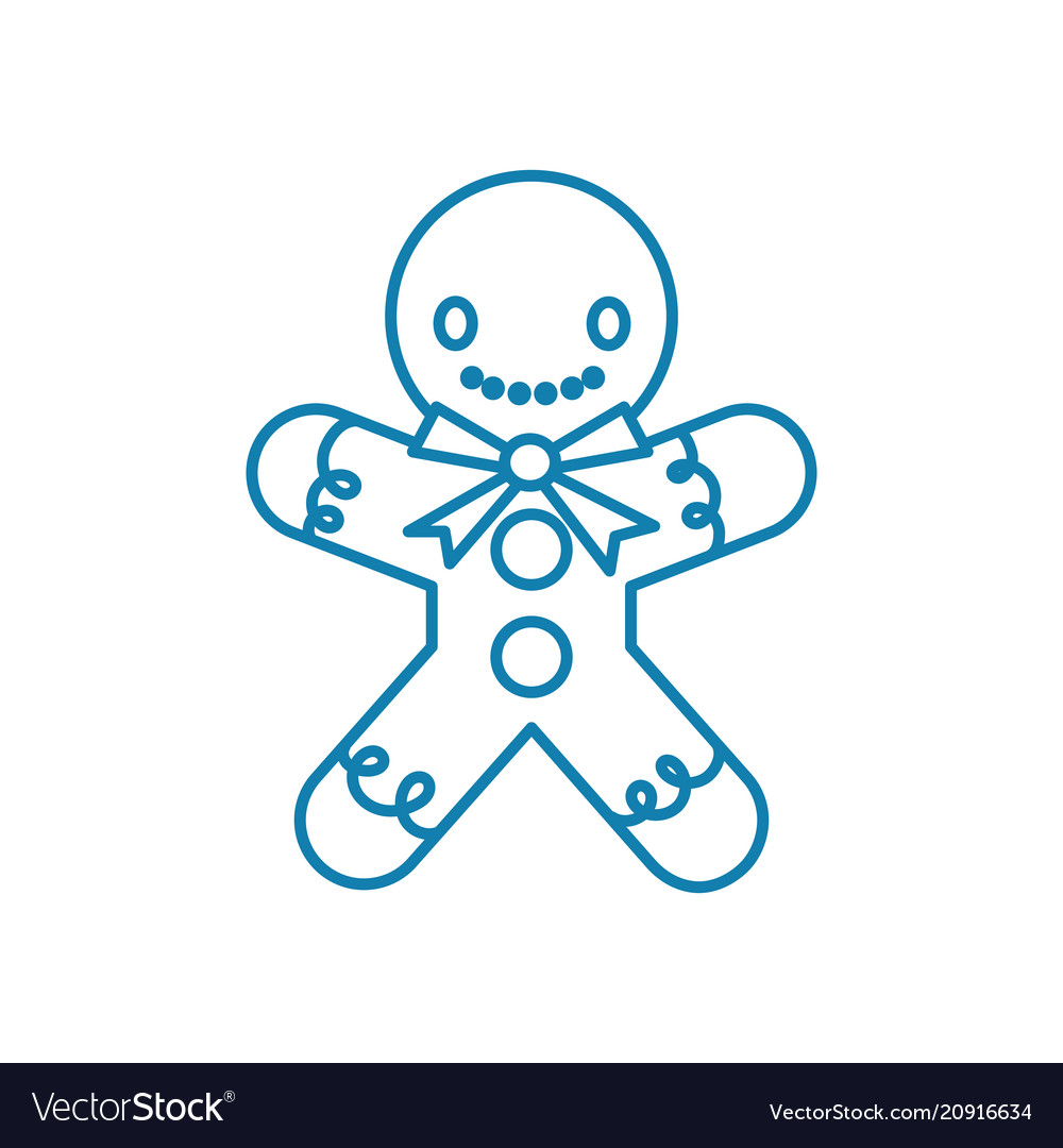 Gingerbread man linear icon concept gingerbread