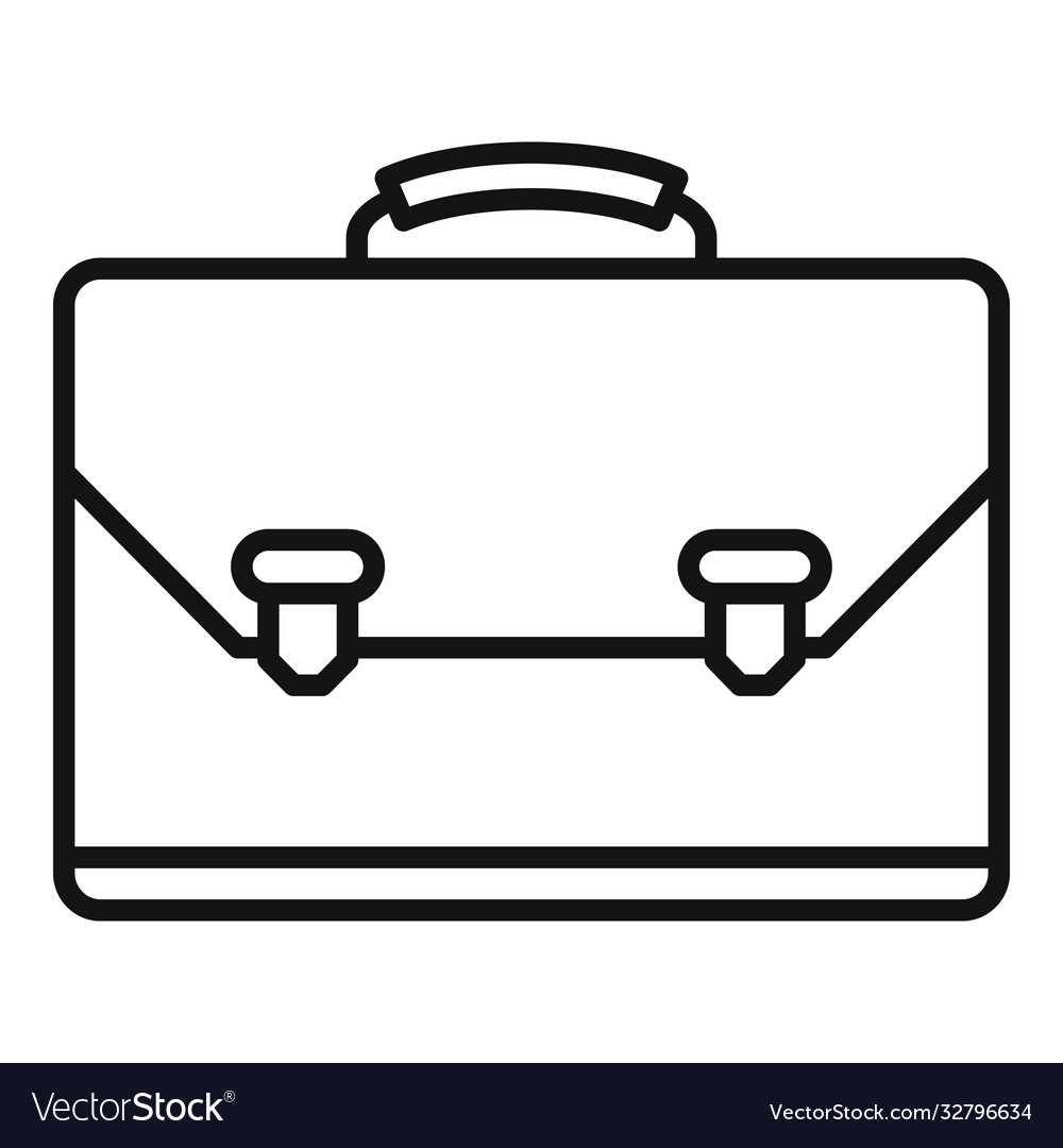 Leather office suitcase icon outline style