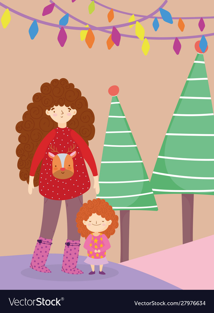 Merry christmas mom with sweater daughter tree