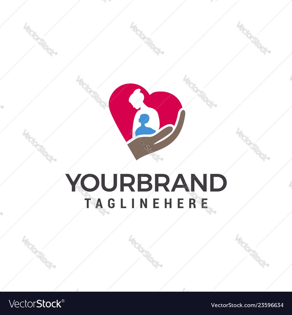 Mom love logo mother and child logo design