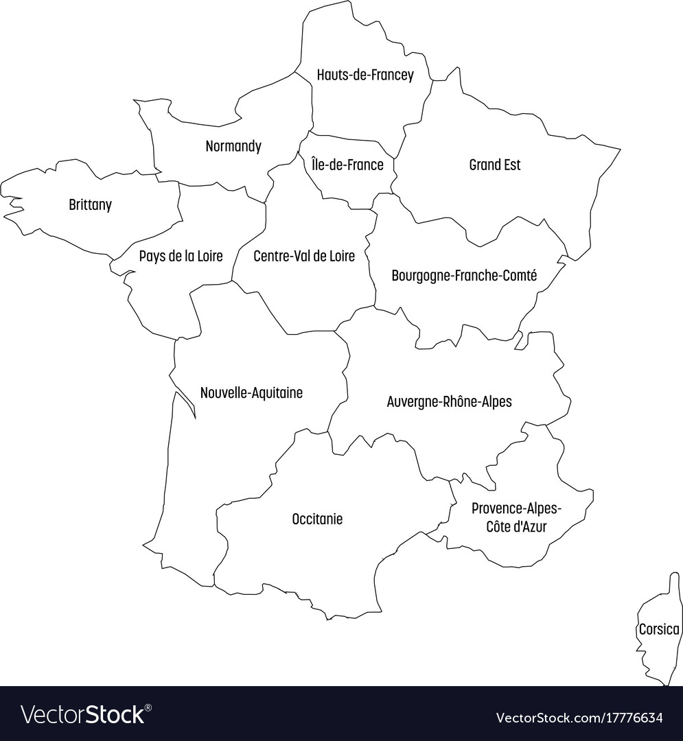 Outline Map Of France Divided Into 13 Royalty Free Vector
