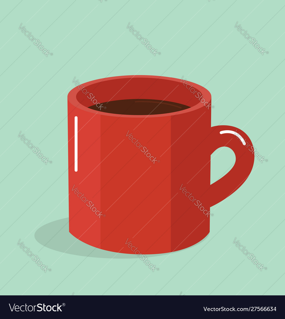 Red Coffee Mug Flat Design Style Royalty Free Vector Image