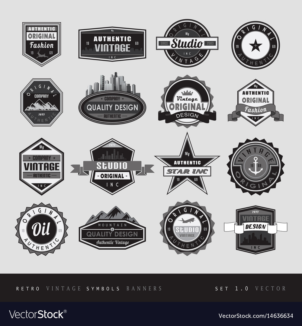 Vintage retro labels black and white isolated